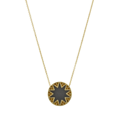 House of Harlow 1960 Earth Black Sunburst Necklace