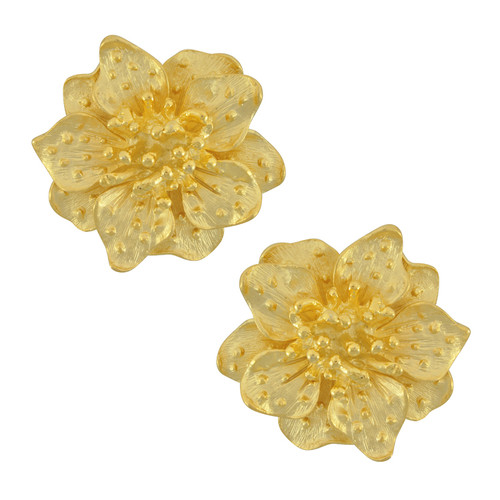 Kenneth Jay Lane Satin Dogwood Flower Earrings