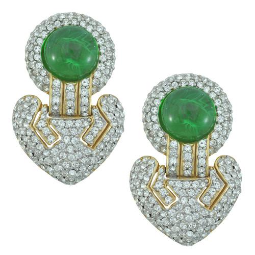 Ciner Crystal Emerald Deco Drop Earrings