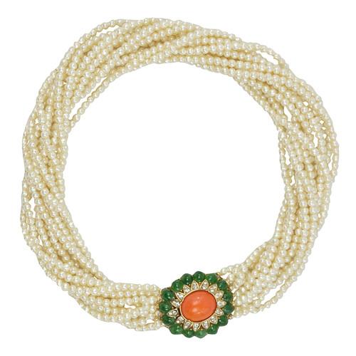 Ciner Jade and Coral Cabochon Pearl Necklace