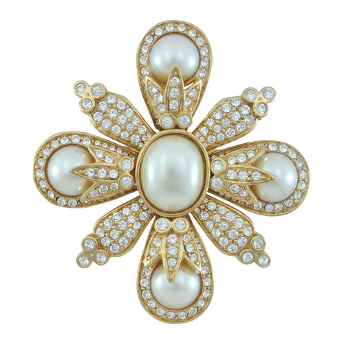 Ciner Pearl Crystal Brooch