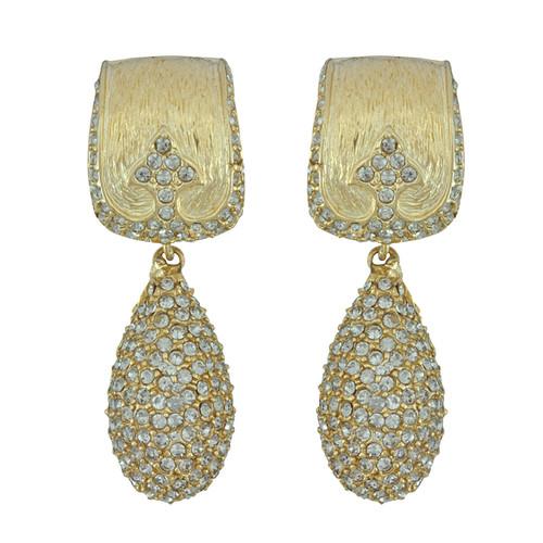 Ciner Gold Crystal Deco Drop Earrings