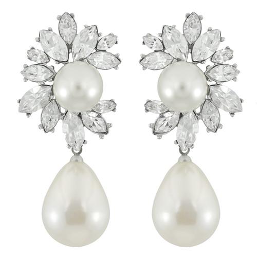 Kenneth Jay Lane Crystal Pearl Drop Earrings