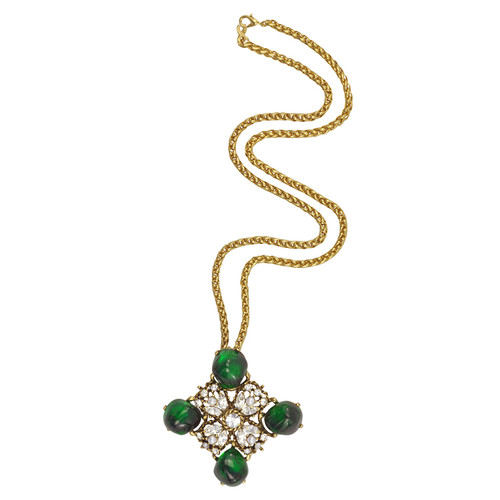Kenneth Jay Lane Antique Emerald Necklace