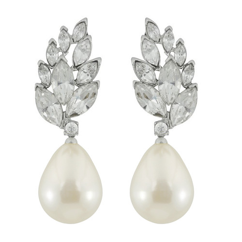 Kenneth Jay Lane Crystal Pearl Audrey Earrings