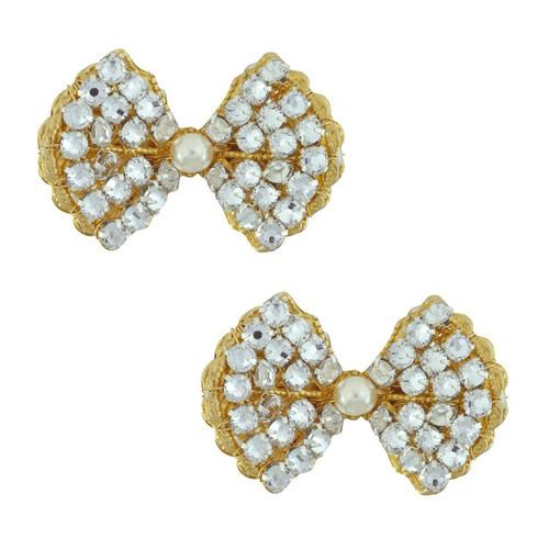 Miriam Haskell Pearl Bow Earrings