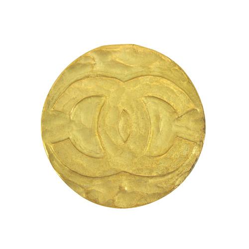 Vintage Chanel Simple CC Logo Round Brooch