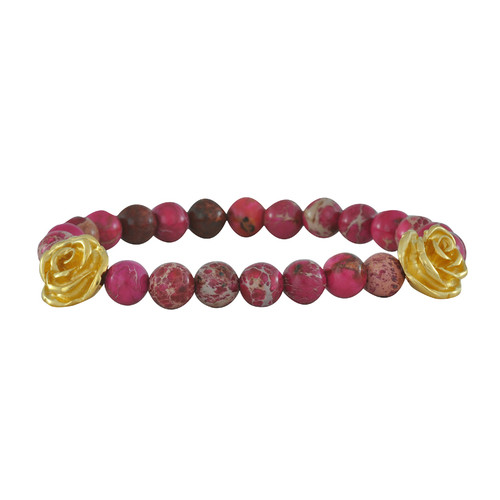 LeiVanKash Rose Bead Pink Bracelet