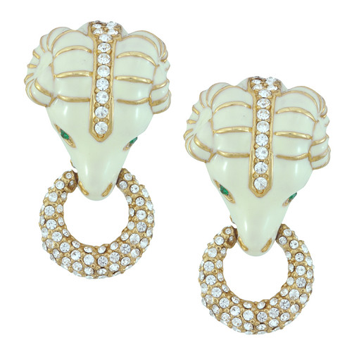 Ciner Ivory Emerald Pave Ram Head Earrings