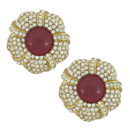 Ciner Grace Pave Ruby Flower Earrings