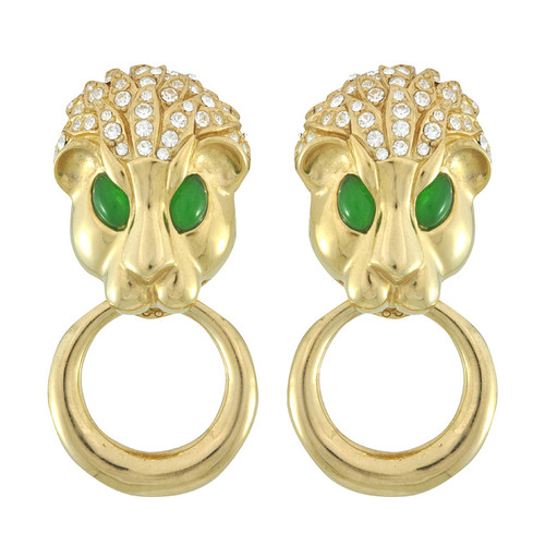 Ciner Gold Emerald Eyes Pave Lion Earrings