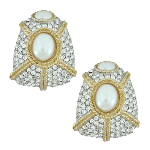 Ciner Gloria Crystal Pearl Deco Earrings