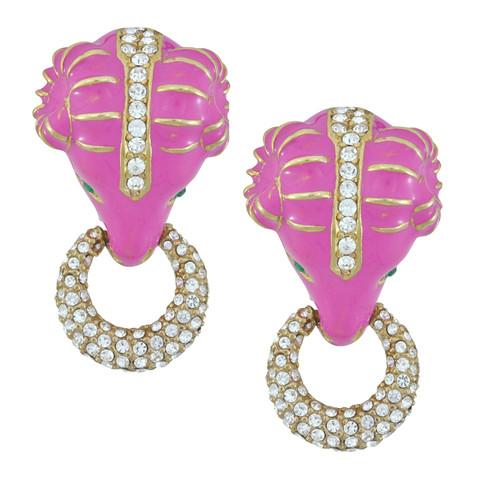 Ciner Fuchsia Pave Ram Head Earrings