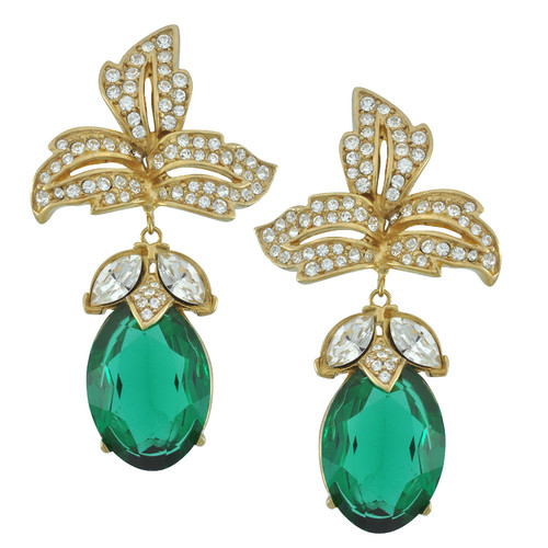 Ciner Emerald Drop Earrings