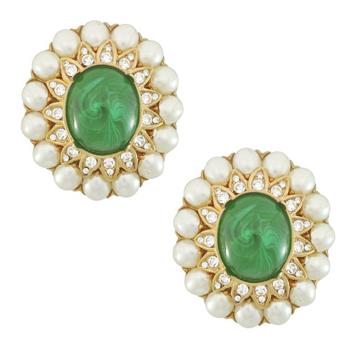 Ciner Margaret Emerald Pearl Earrings