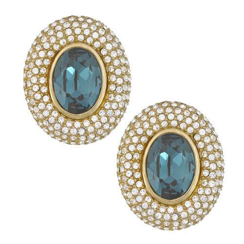 Ciner Elizabeth Sapphire Oval Crystal Earrings