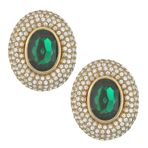 Ciner Elizabeth Emerald Oval Crystal Earrings