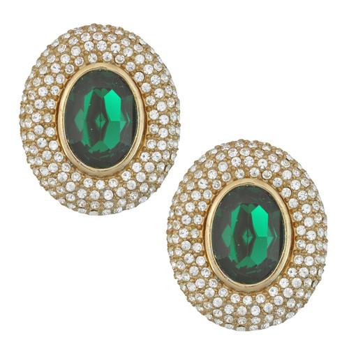 Ciner Elizabeth Emerald Oval Crystal Earrings