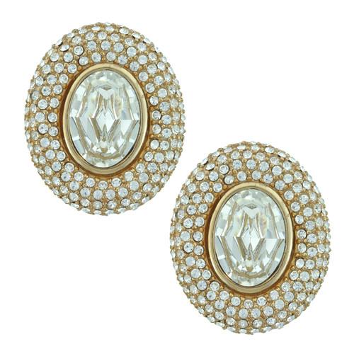 Ciner Elizabeth Clear Oval Crystal Earrings