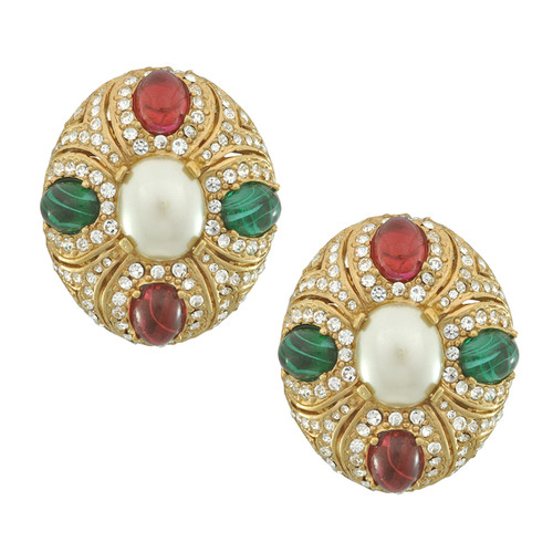 Ciner Eleanor Pearl Emerald Ruby Earrings