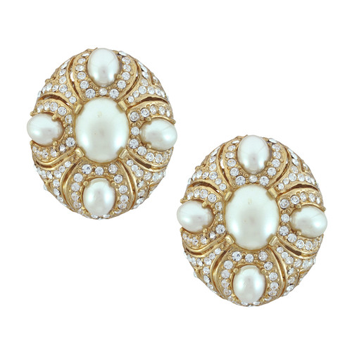 Ciner Eleanor Pearl Crystal Earrings