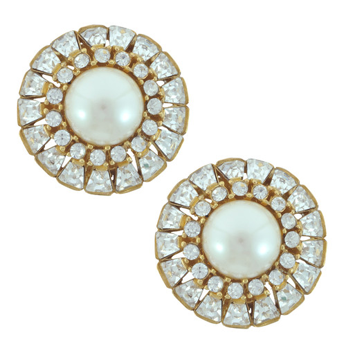Ciner Audrey Crystal Baguette Pearl Earrings