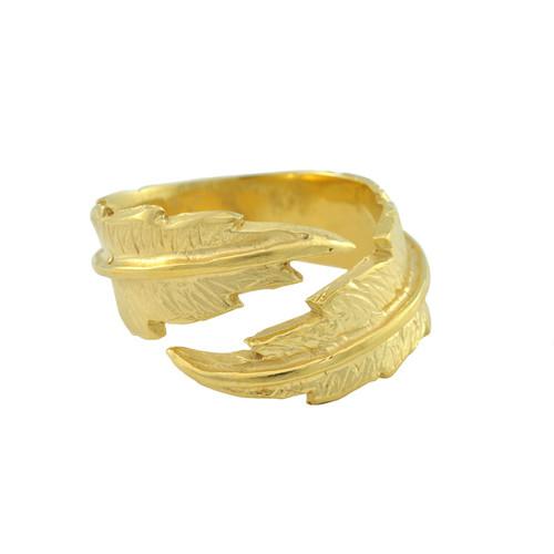 LeiVanKash Gold Feather Midi Ring