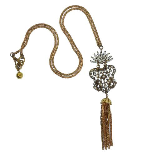 Lulu Frost Crystal Crest Tassel Necklace