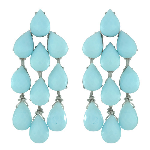 Siman Tu Blue Aqua Glass Earrings