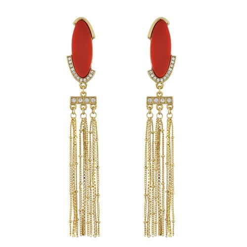 Sequin Red Chain Drop Earrings