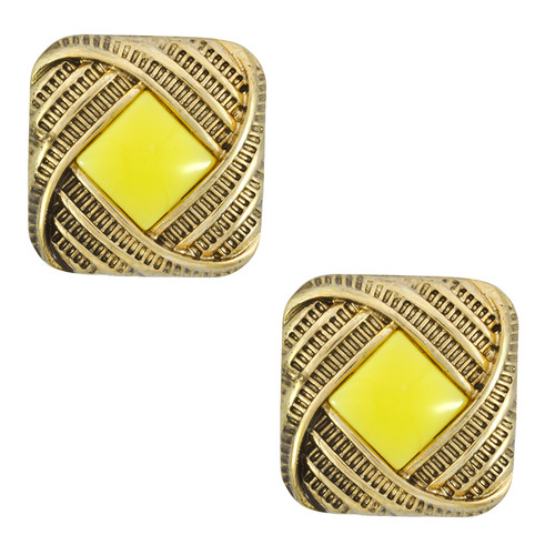 Pink Pave Yellow Center Square Earrings
