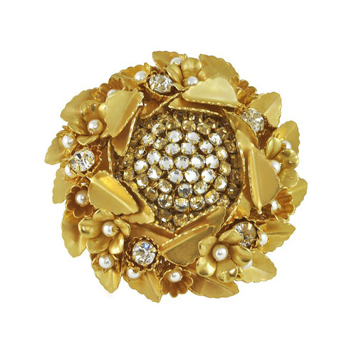 Miriam Haskell Large Gold Leaf Ring