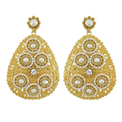 Miriam Haskell Large Filagree Earrings