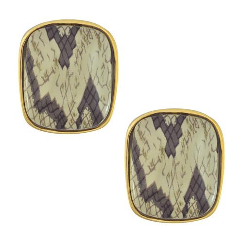Kenneth Jay Lane Gold Snake Print Earrings M