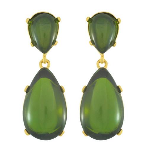 Kenneth Jay Lane Green Drop Earrings