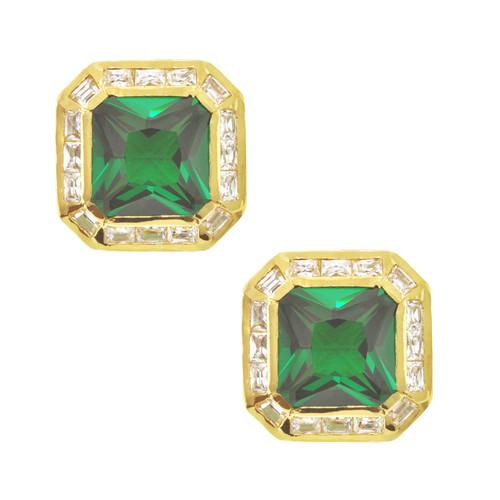 Kenneth Jay Lane CZ Emerald Square Earrings