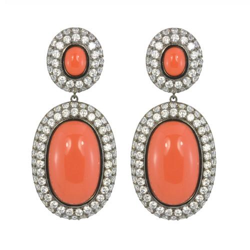 Kenneth Jay Lane CZ Coral Drop Earrings