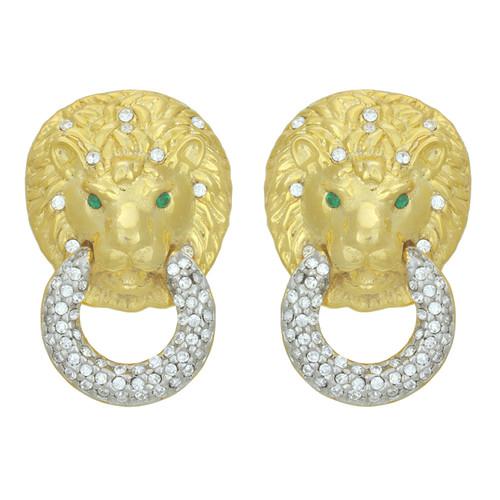 Kenneth Jay Lane Crystal Lion Head Earrings