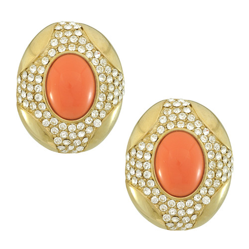 Ciner Oval Coral Button Earrings