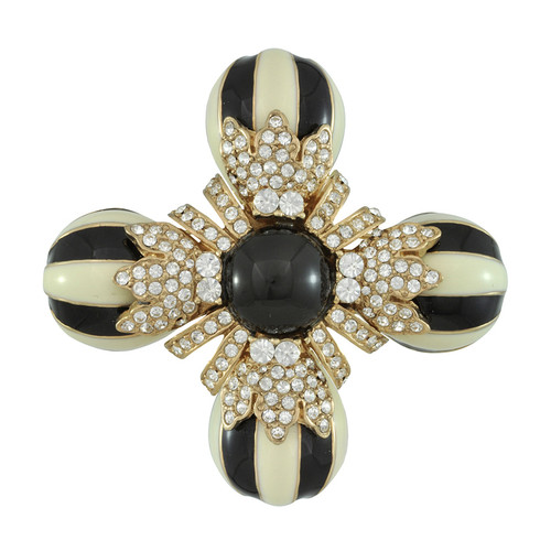Ciner Black and Ivory Flower Brooch