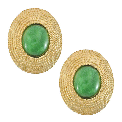 Ciner Emerald Centre Oval Earrings