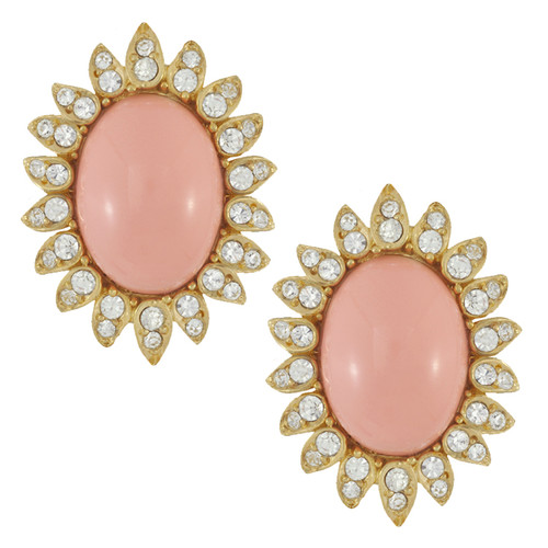 Ciner Blush Cabochon Button Earrings