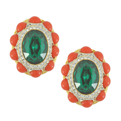Kenneth Jay Lane Emerald Dark Coral Earrings