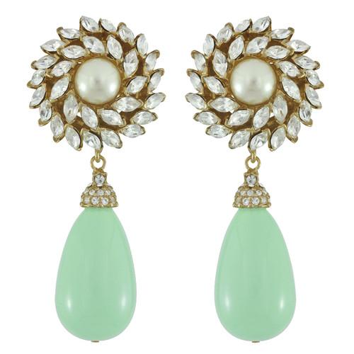 Ciner for Sophie Mint Crystal Flower Drop Earrings
