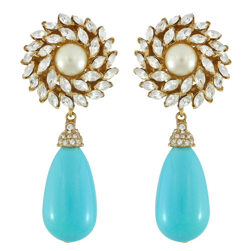 Ciner for Sophie Aqua Blue Crystal Flower Drop Earrings