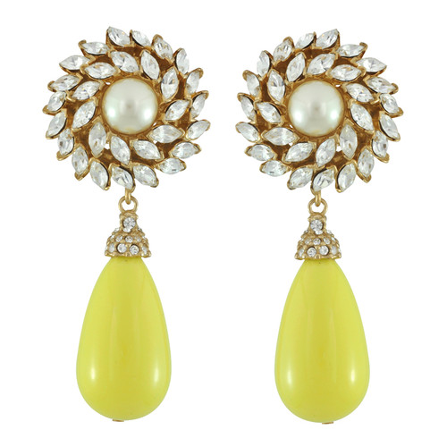 Ciner for Sophie Buttercup Crystal Flower Drop Earrings