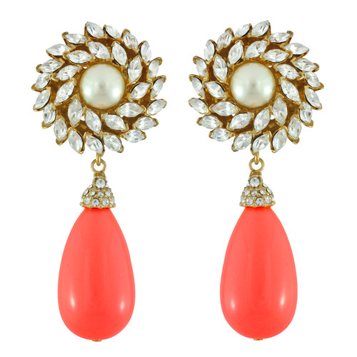 Ciner for Sophie Coral Crush Crystal Flower Drop Earrings