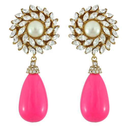 Ciner for Sophie Peony Pink Crystal Flower Drop Earrings
