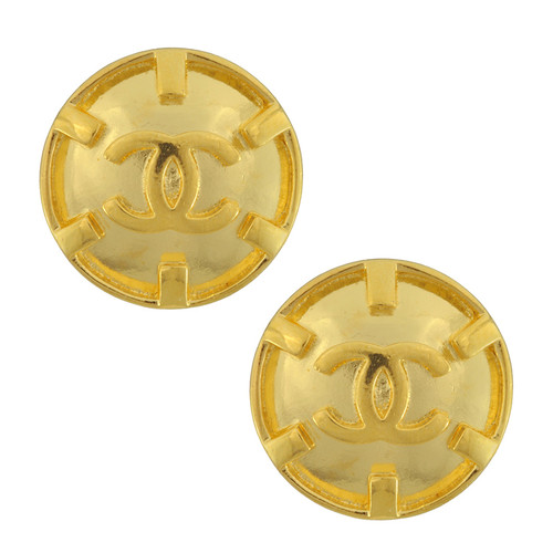 Vintage Chanel Medium Gold CC Logo Button Earrings