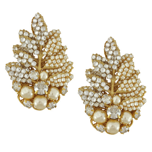 Miriam Haskell Couture Pearl Crystal Leaf Earrings